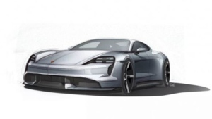 Porsche teases Taycan in sketches. (Courtesy of Porsche)