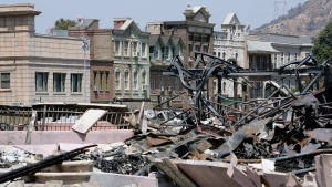 Debris clutters the New York Street facade at the Universal Studios Hollywood back lot, Monday June 2, 2008, in the Universal City section of Los Angeles, a day after a fire destroyed the sets of iconic films.(THE CANADIAN PRESS/AP, Ric Francis)