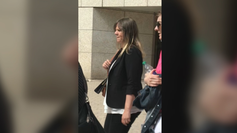 Brenda Schuff leaving the law courts during the trial earlier this month. (Source: Josh Crabb/CTV News Winnipeg)
