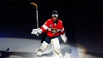 In this Feb. 23, 2019, file photo, Florida Panthers goaltender Roberto Luongo (1) skates onto the ice after being awarded the number one star of the game after an NHL hockey game against the Los Angeles Kings, in Sunrise, Fla. (AP Photo/Joel Auerbach, File)