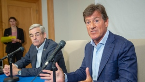 Stephen Bronfman, right, and Pierre Boivin speak to the media about the prospect of Major League baseball returning to Montreal Wednesday, June 26, 2019 in Montreal. (THE CANADIAN PRESS/Ryan Remiorz)