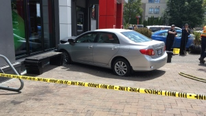 An elderly driver was uninjured after his car struck a McDonalds in Saanich Wed., June 26, 2019. (CTV Vancouver Island)