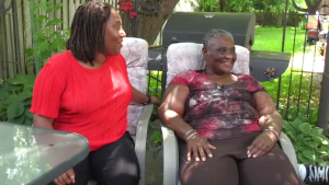 Pamela Prescod sits with her daughter Debbie Louttet. (June 26, 2019)