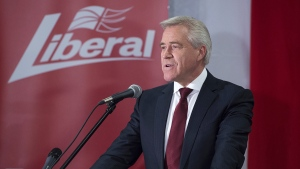 Premier Dwight Ball addresses the crowd after winning the provincial election, in Corner Brook, Newfoundland and Labrador on May 16, 2019. THE CANADIAN PRESS/Andrew Vaughan