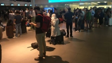 Porter Airlines passengers wait at the main departure area for news after a telecom outage in the U.S. causes delays. (Miranda Anthistle/CTV News Toronto)