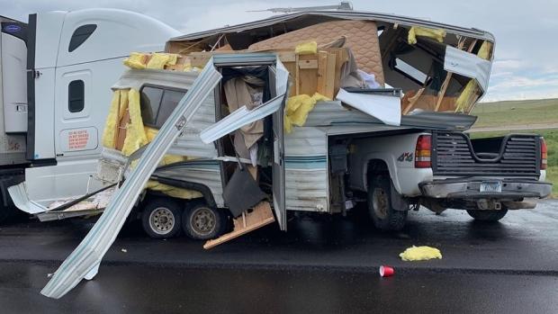 semi-camper crash