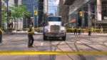 pedestrian struck, Victoria and Queen streets