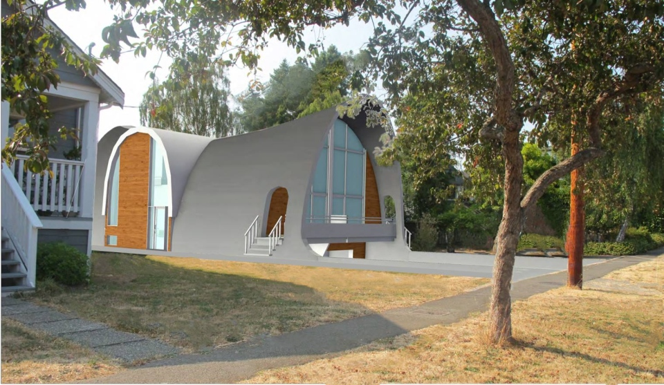 An artist's rendering of the finished home, now under construction in Esquimalt. (Nouvel Housing)