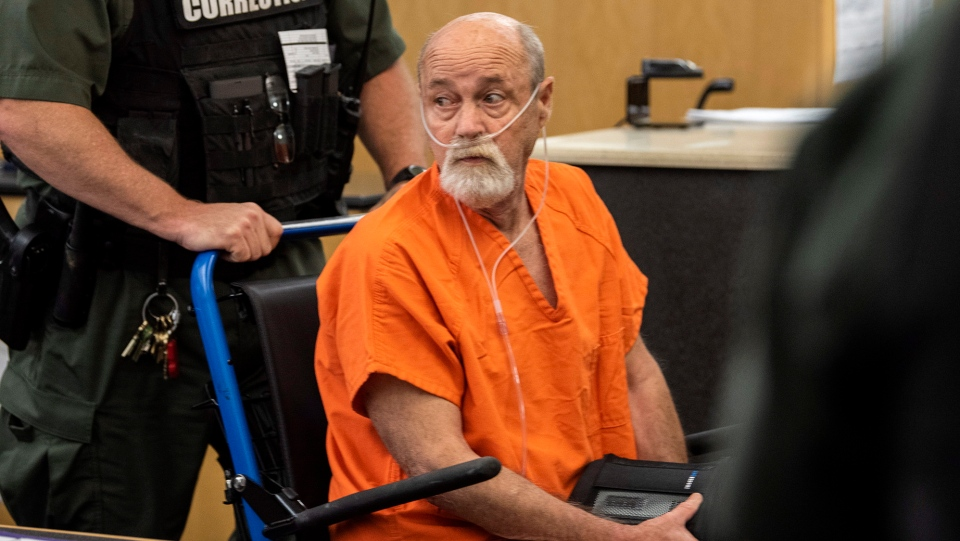 David Croswell, who's accused of driving his Jeep onto the beach of a Washougal swimming hole, striking and killing two German tourists, Tuesday makes a first appearance Wednesday, June 26, 2019, in Clark County Superior Court in Vancouver, Wash. (Alisha Jucevic/The Columbian via AP)