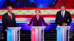 Democratic presidential candidate Sen. Elizabeth Warren, D-Mass, speaks at the Democratic primary debate hosted by NBC News at the Adrienne Arsht Center for the Performing Arts, Wednesday, June 26, 2019, in Miami, as Sen. Cory Booker, D-N.J., left and former Texas Rep. Beto O'Rourke listen. (AP Photo/Wilfredo Lee)