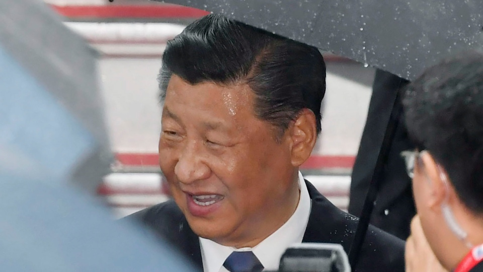 China's President Xi Jinping arrives at Kansai International Airport in Izumisano, Osaka prefecture, western Japan, Thursday, June 27, 2019. Group of 20 leaders gather in Osaka on June 28 and 29 for their annual summit.(Nobuki Ito/Kyodo News via AP)