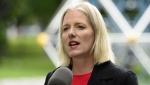 Minister of Environment and Climate Change, Catherine McKenna, makes an announcement on how the federal government will allocate a portion of the proceeds collected as a result of carbon pollution pricing during a press conference in Ottawa on Tuesday, June 25, 2019.