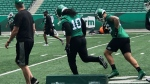 Solomon Elimimian practices with the Roughriders on June 27, 2019 (Claire Hanna / CTV Regina)