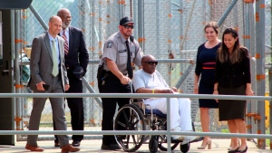 In this May 23, 2019, file photo, Charles Ray Finch is wheeled out of the Greene Correctional Institution in Maury, N.C. Finch, a North Carolina man who was once on death row for a shopkeeper's slaying, won't be retried in the case that put him behind bars for more than 40 years. (Drew C. Wilson/The Wilson Times via AP, File)