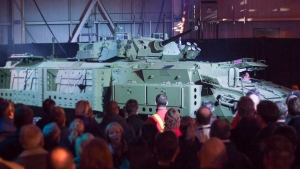 A Light Armoured Vehicle is unveiled at a news conference at a General Dynamics facility in London, Ont., on January 24, 2012. The sudden deterioration in the Saudi-Canadian relationship is likely grabbing the attention of people in the city of London, Ont., more than anywhere else in the country. (THE CANADIAN PRESS / Mark Spowart)