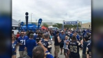Hundreds of CFL fans packed a pre-game tailgate at IG Field ahead for the Blue Bomber's 2019 home opener. (CTV News Photo: Jeremie Charron)