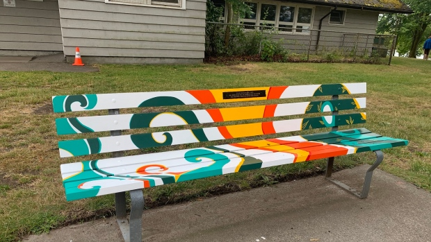 Painted bench in kits beach park
