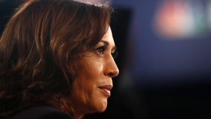 Sen. Kamala Harris, D-Calif., listens to questions in the spin room after the Democratic primary debate hosted by NBC News at the Adrienne Arsht Center for the Performing Art, Thursday, June 27, 2019, in Miami. (AP Photo/Brynn Anderson)