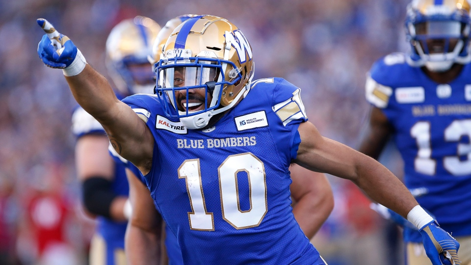 Winnipeg Blue Bombers' Nic Demski celebrates his touchdown during the first half of CFL action against the Edmonton Eskimos in Winnipeg Thursday, June 27, 2019. (John Woods / THE CANADIAN PRESS)