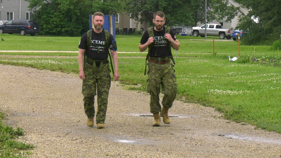Canadian soldiers Chris Nightinggale, left, and Austin Andrew will participate in the Nijmegen International Four-Days Marches in Holland.