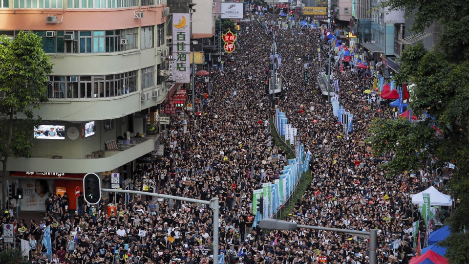 Protesters flood the streets of Hong Kong