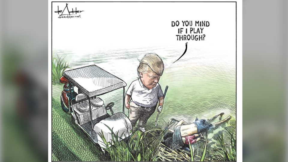 A Canadian cartoonist says he lost his job after his illustration of U.S. President Donald Trump playing golf over the bodies of two drowned migrants went viral. (Michael de Adder)