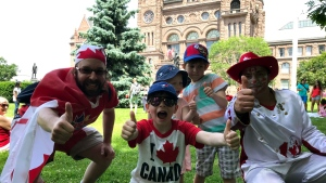 Despite Ontario cancelling Canada Day event, people celebrate at