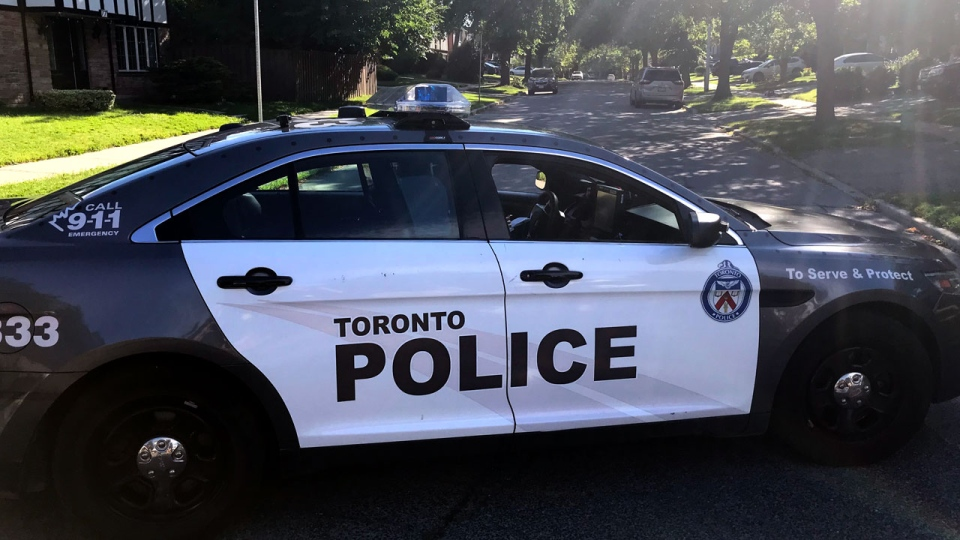 A Toronto police cruiser is seen at the scene of a North York shooting on July 1, 2019. (CTV News Toronto / Phil Fraboni)