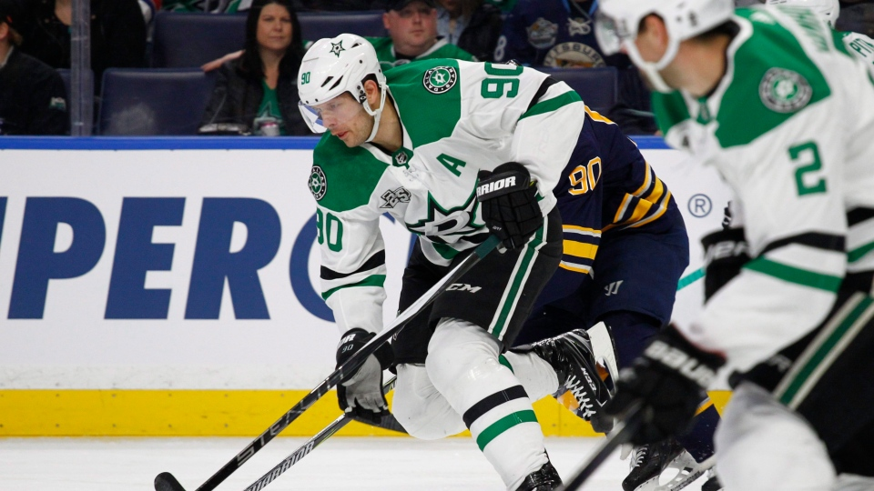 Dallas Stars forward Jason Spezza (90) skates the puck up ice during the first period of an NHL hockey game against the Buffalo Sabres, Saturday, Jan. 20, 2018, in Buffalo, N.Y. THE CANADIAN PRESS/AP, Jeffrey T. Barnes