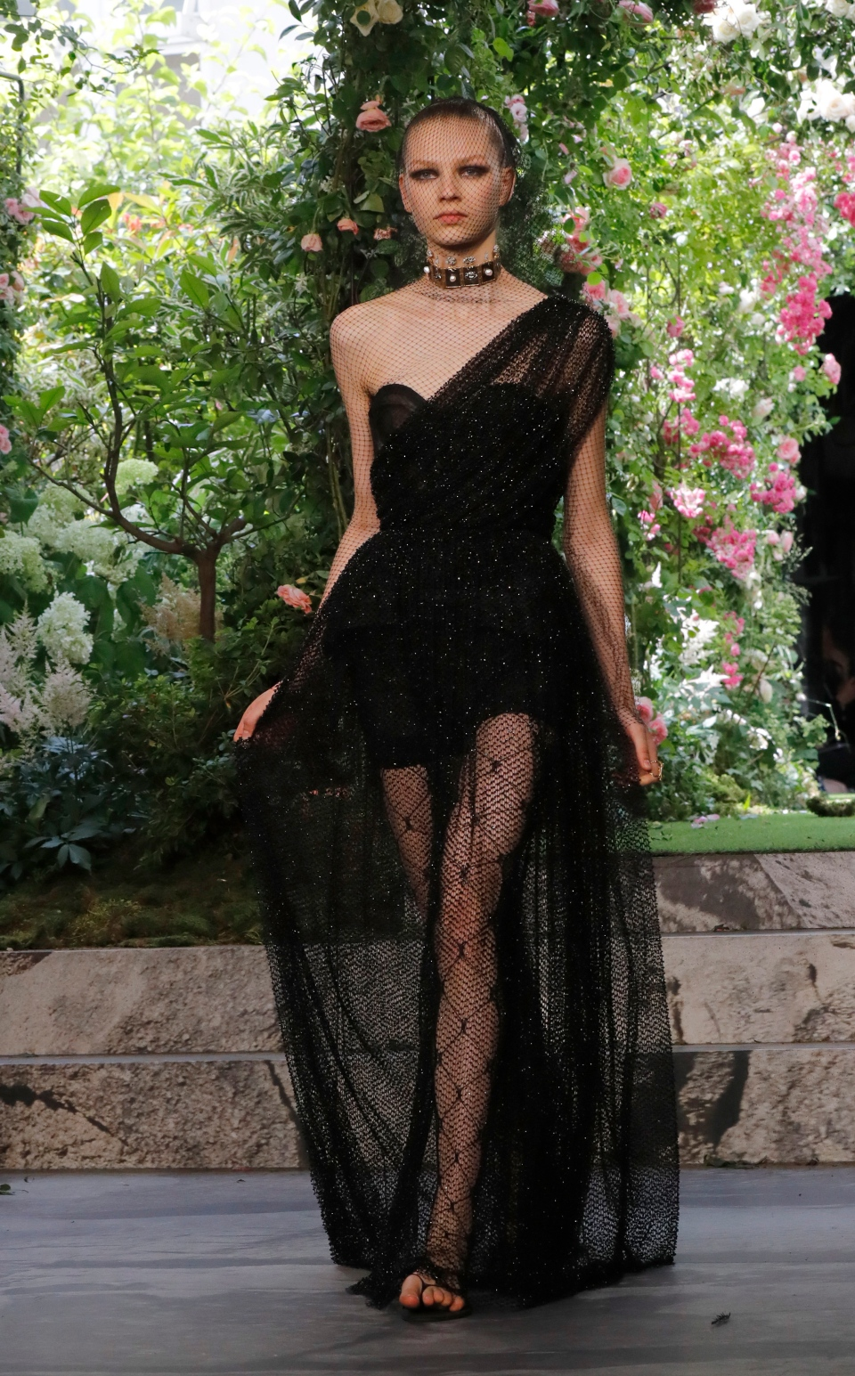 A model wears a creation for the Dior Haute Couture Fall-Winter 2020 fashion collection presented in Paris, Monday, July 1 2019. (AP Photo/Michel Euler)