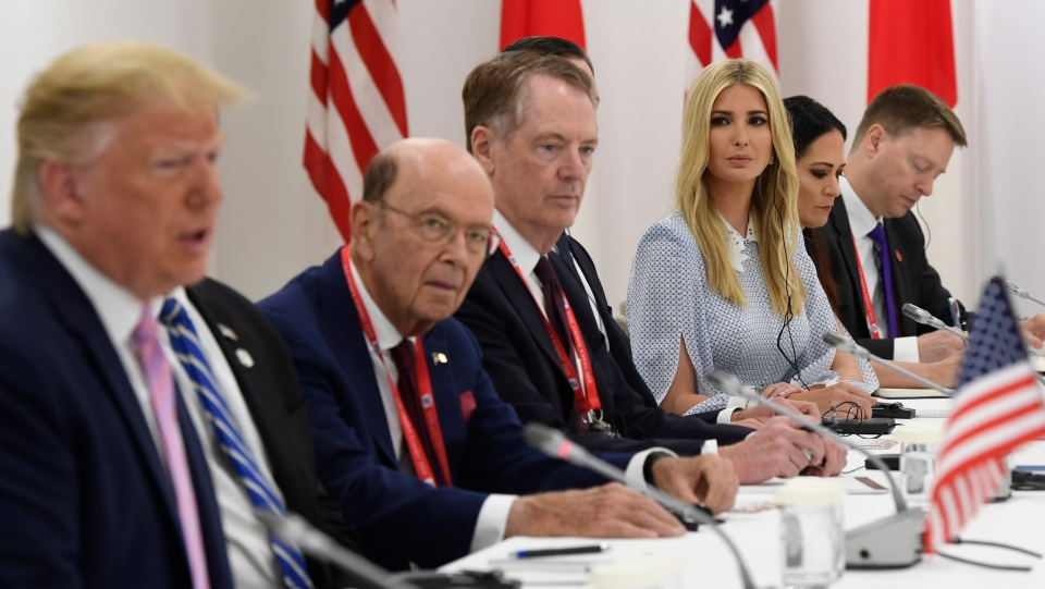 Ivanka Trump attends a bilateral meeting with her father President Donald Trump and Japanese Prime Minister Shinzo Abe during a meeting on the sidelines of the G-20 summit in Osaka, Japan, Friday, June 28, 2019. (AP Photo/Susan Walsh)