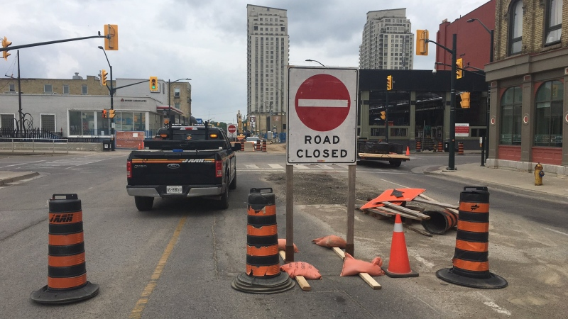 The intersection of Richmond and York streets is closed for construction in London, Ont. on Tuesday, July 2, 2019. (Brent Lale /CTV London)