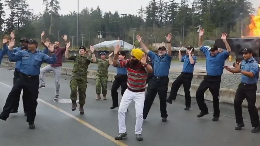 Members of the Canadian Forces perform a bhangra dance with Gurdeep Pandher in a video he created to showcase the diversity in Canada's military ranks. (Gurdeep Pandher)