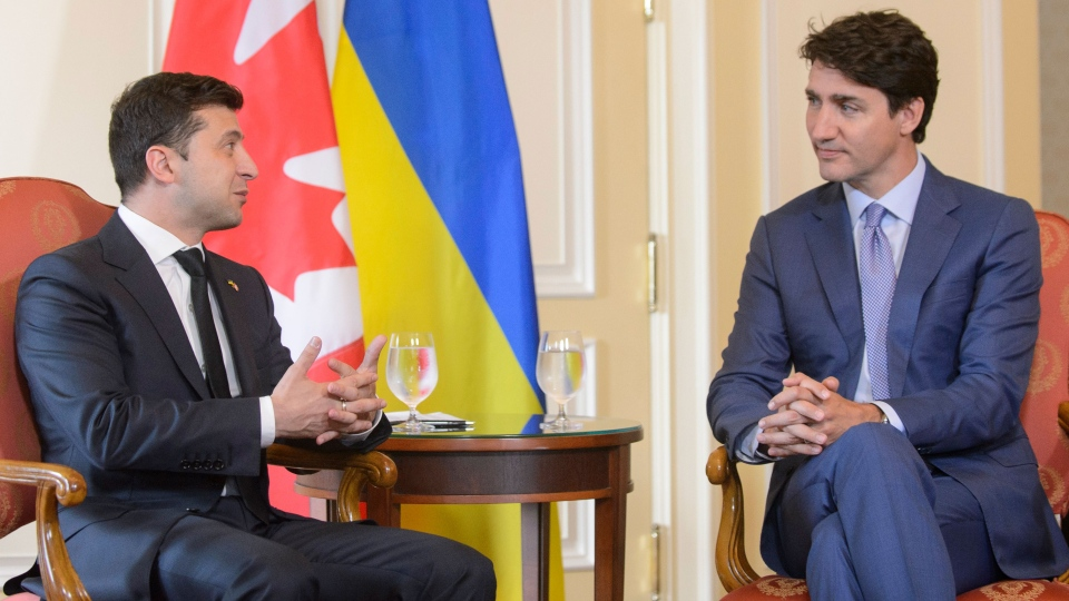 Prime Minister Justin Trudeau holds talks with Ukrainian President Volodymyr Zelenskyy at the Hotel Fairmont Royal York during the Ukraine Reform Conference in Toronto, on Tuesday, July 2, 2019. THE CANADIAN PRESS/Andrew Lahodynskyj