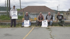 USW 1-1937 members on strike in July in Port Alberni. (CTV Vancouver Island)