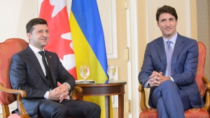 Prime Minister Justin Trudeau holds talks with Ukrainian President Volodymyr Zelenskiy at the Hotel Fairmont Royal York during the Ukraine Reform Conference in Toronto, on Tuesday, July 2, 2019. THE CANADIAN PRESS/Andrew Lahodynskyj