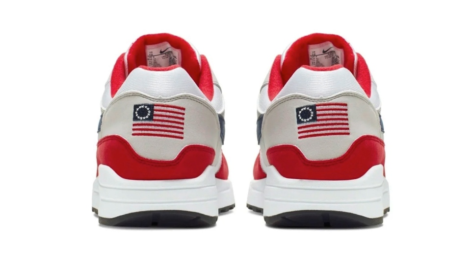 This undated product image obtained by the Associated Press shows Nike Air Max 1 Quick Strike Fourth of July shoes that have a U.S. flag with 13 white stars in a circle on it, known as the Betsy Ross flag, on them. (AP Photo)