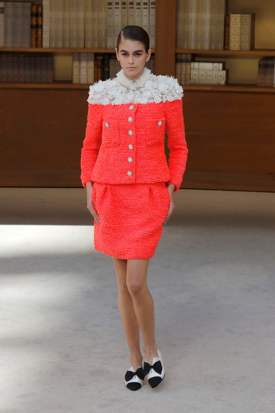 Model Kaia Gerber wears a creation for the Chanel Haute Couture Fall-Winter 2020 fashion collection presented in Paris, Tuesday, July 2 2019. (AP Photo/Michel Euler)
