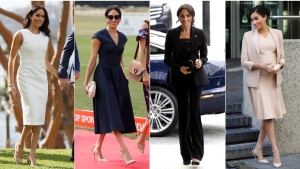 This combination photo shows Meghan, Duchess of Sussex, at Admiralty House in Sydney, Australia on Oct. 16, 2018, from left, at the Royal County of Berkshire Polo Club in Windsor, England on July 26, 2018, at the annual WellChild awards in London on Sept. 4, 2018 and at the National Theatre in London on Jan. 30, 2019. (AP Photo)