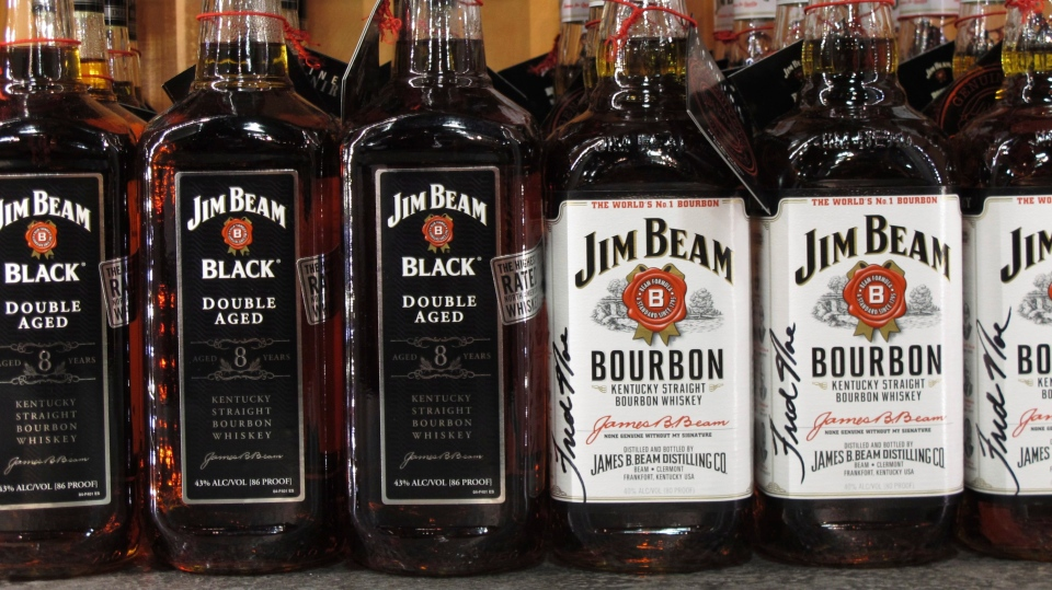 Firefighters in Kentucky are trying to extinguish a burning Jim Beam warehouse filled with about 45,000 barrels of bourbon. (AP Photo/Bruce Schreiner, File)
