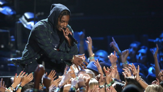 In this Sunday, Aug. 30, 2015, file photo, A$AP Rocky performs at the MTV Video Music Awards at the Microsoft Theater in Los Angeles. (Photo by Matt Sayles/Invision/AP, File)