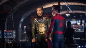 """This image released by Sony Pictures shows Jake Gyllenhaal, left, and Tom Holland in a scene from """"Spider-Man: Far From Home."""" (Jay Maidment/Columbia Pictures/Sony via AP)"""