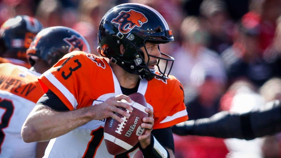 B.C. Lions quarterback Mike Reilly runs the ball during first half CFL football action against the Calgary Stampeders, in Calgary, Saturday, June 29, 2019. THE CANADIAN PRESS/Jeff McIntosh