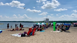Centennial Beach in Barrie is busy as the heat swelters the region on Thurs., July 4, 2019 (CTV News/Craig Momney)