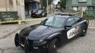 Vancouver police cruisers block the scene of an incident in East Vancouver on Thursday, June 4, 2019. (Steve Hughes / CTV News Vancouver)