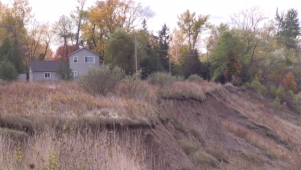 Erosion is seen along Ontario's Lake Huron shoreline.