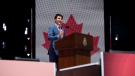 Prime Minister Justin Trudeau delivers an address during the Canada Day noon show on Parliament Hill in Ottawa on Monday, July 1, 2019. THE CANADIAN PRESS/Justin Tang