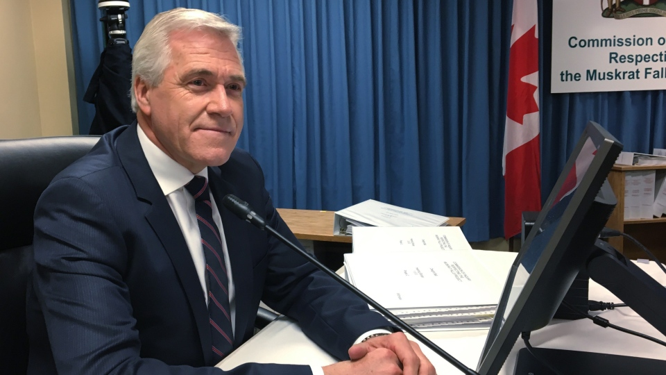 Newfoundland and Labrador Premier Dwight Ball is seen testifying at the inquiry into the controversial Muskrat Falls dam's runaway cost and schedule overruns in St. John's, Newfoundland on July 4, 2019. (THE CANADIAN PRESS/Holly McKenzie-Sutter)
