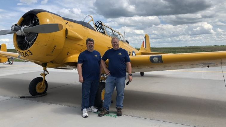 David (left) and Drew Watson (right) will attend the Saskatchewan Airshow this week in Moose Jaw. (Brendan Ellis / CTV Regina).