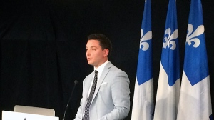 The Minister for Immigration, Diversity, and Inclusion, Simon Jolin-Barrette, was in Montreal Friday to announce a supplemental investment of $70.3 million (CTV Montreal/Ken Dow)